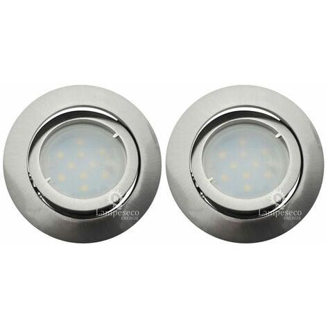 Lot de 2 Spot Led Encastrable Complete Satin Orientable lumière Blanc Neutre eq. 50W ref.895