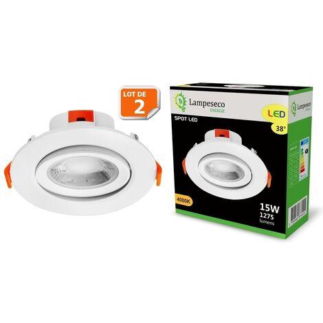 Lot de 2 Spot LED encastrable pour plafond 15W Blanc Neutre 1275lm transformateur intégré
