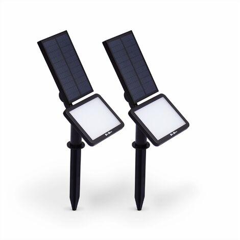 Lot de 2 spots 48 LED solaires blanc froid 960 lumens, luminaire extérieur résistant à l'eau, projecteur autonome