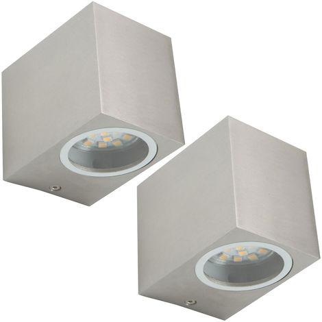 Lot de 2 spots à LED bas appliques façades éclairage extérieur lampe de jardin en aluminium argenté