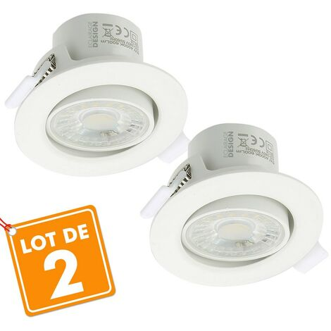 Lot de 2 Spots Encastrables LED Valence 9W Orientable Equ. 60W