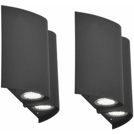 Lot de 2 spots muraux exterieurs LED exterieurs terrasses plot DOWN DOWNlights facades lampes anthracite