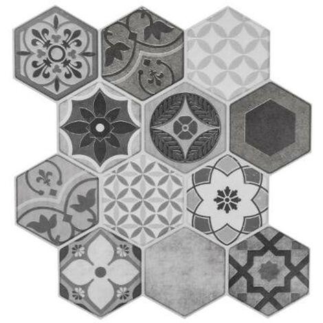 Lot de 2 Stickers Carrelage à Motifs Hexa 24x24cm Gris