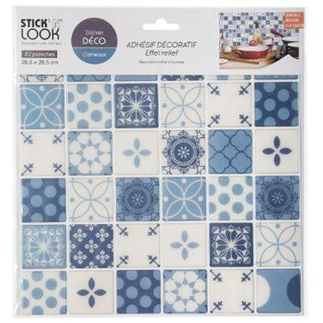 Lot de 2 Stickers Carrelage Carreaux 26x28cm Bleu