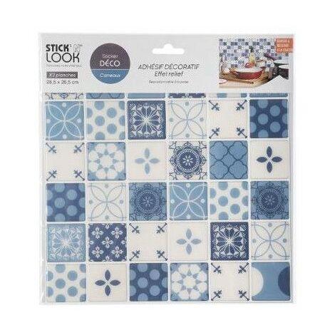 Lot de 2 stickers effet carrelage - L 28,5 x l 26,5 cm - Bleu