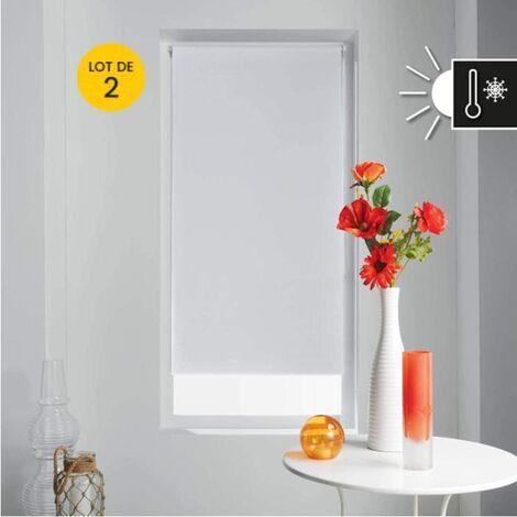 Lot de 2 Store enrouleur occultant 90 x 180 cm occult Blanc