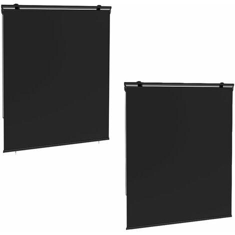 Lot de 2 stores enrouleur HOUSTON gris en polyester 120x225 cm
