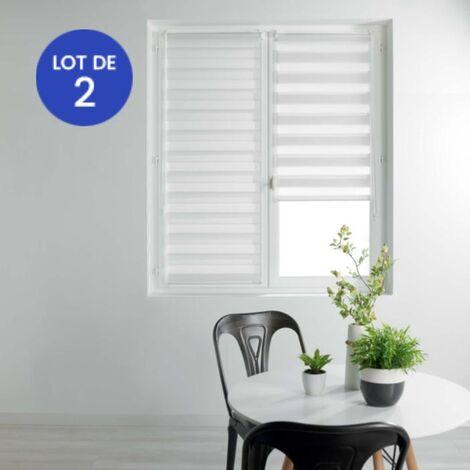 Lot de 2 Stores enrouleur jour et nuit 60 x 90 cm polyester Blanc