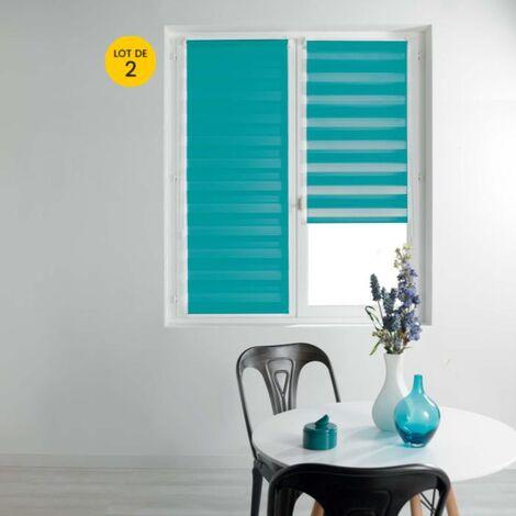 Lot de 2 Stores enrouleur jour et nuit 60 x 90 cm polyester Bleu