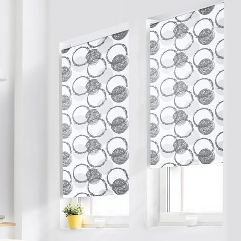 Lot de 2 stores enrouleurs imprimés motifs ronds l.45 x H. max 170 cm
