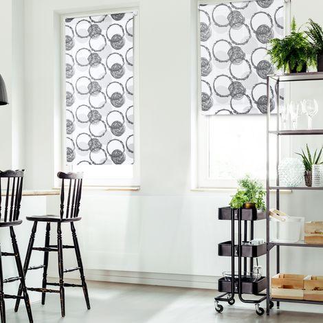Lot de 2 stores enrouleurs imprimés motifs ronds l.60 x H. max 170 cm