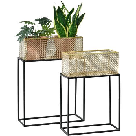 Lot de 2 Supports de Plante Rectangulaires Ensemble Cache-Pot Pot de Fleur Bac à Fleurs Vase Métal Tailles Différentes Noir Laiton