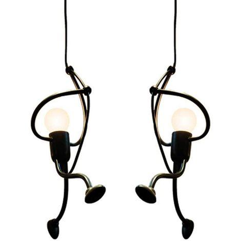 Lot de 2 Suspension luminaire En Fer Lampe créative Design de Bande Dessinée Moderne Pendentif pour Enfants Chambre Chevet,Noir
