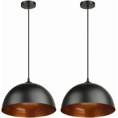 Lot de 2 suspensions vintage luminaires style industriell plafonnier vintage lampe cuisine salon salle à manger (noir Ø 300mm )