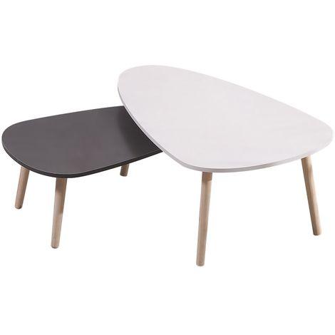 LOT DE 2 TABLE BASSES GIGOGNES STYLE SCANDINAVE BLANC ET GRIS