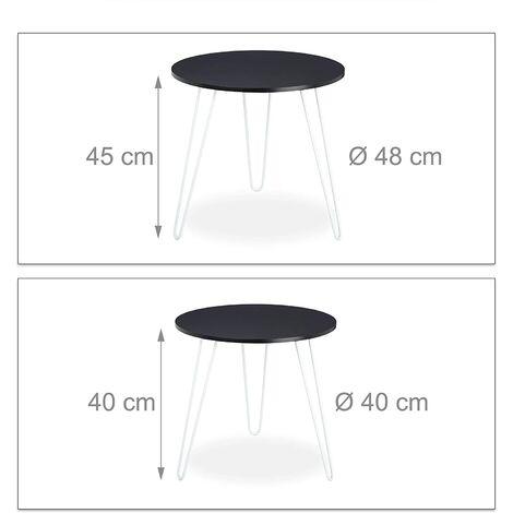 Lot de 2 tables basses d'appoint rondes fer et MDF noir - Noir