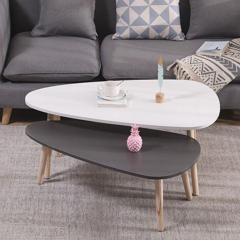 Lot de 2 tables basses gigognes blanc / gris / ovale