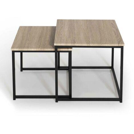 """main image of """"Lot de 2 tables basses gigognes DETROIT 40/45 design industriel"""""""