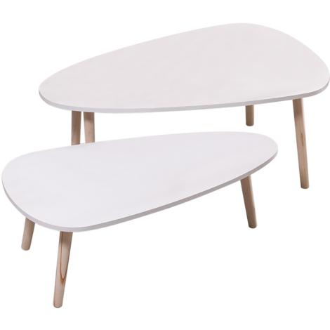 Lot de 2 tables basses gigognes laquées blanc scandinave