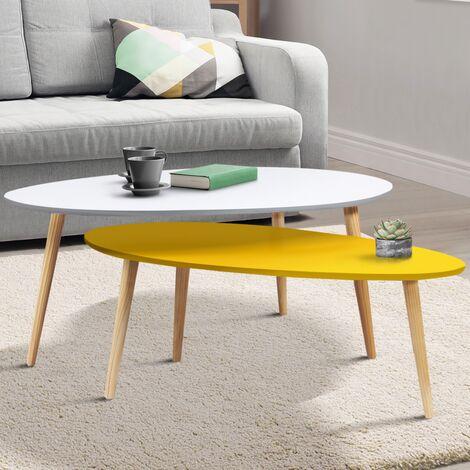 lot de 2 tables basses gigognes laquées jaune blanc scandinave