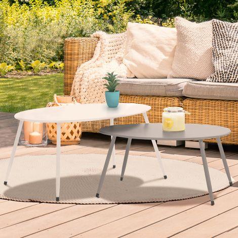 Lot de 2 tables basses gigognes PALMA métal gris et blanc