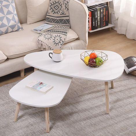Lot de 2 tables basses gigognes scandinave blanc laqué mat - 98*61*39cm &88*48*33cm