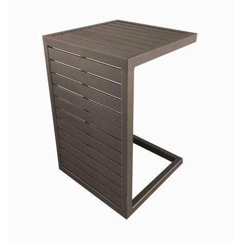 Lot de 2 tables basses Lou Side - 57 x 40 cm - Café - Aluminium