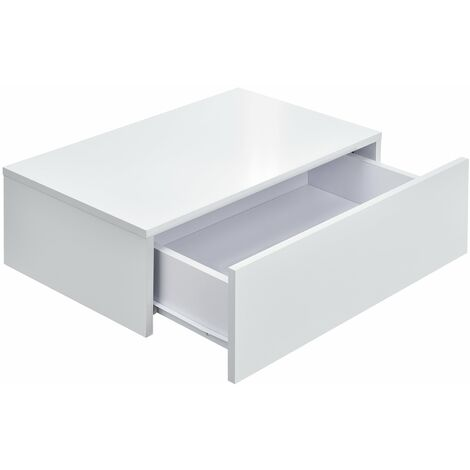 Lot de 2 tables de nuits chevet étagères murales pour chambre à coucher avec 2 tiroirs 46 cm blanc laqué - Blanc