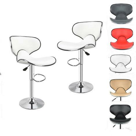 LOT DE 2 TABOURET Chaise Moderne rotatif a 360 Blanc