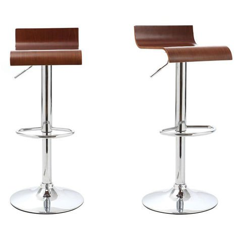 Lot De 2 Tabouret De Bar Cuisine Design Bois Coloris Noyer Surf