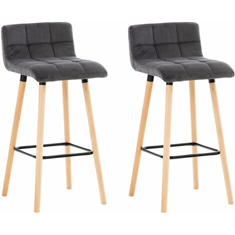 Lot de 2 Tabouret de bar Lincoln en velours