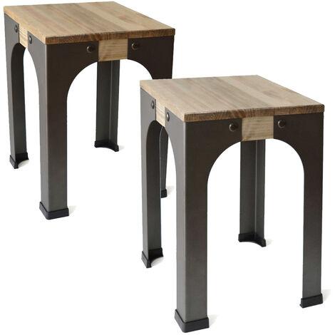 Lot de 2 Tabourets bas - Industriel vintage bois et métal 32x32x46 cm