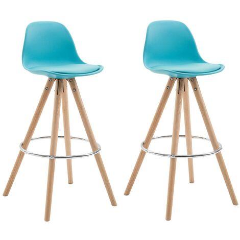 Lot de 2 tabourets chaise de bar en polyuréthane bleu avec repose-pieds - bleu