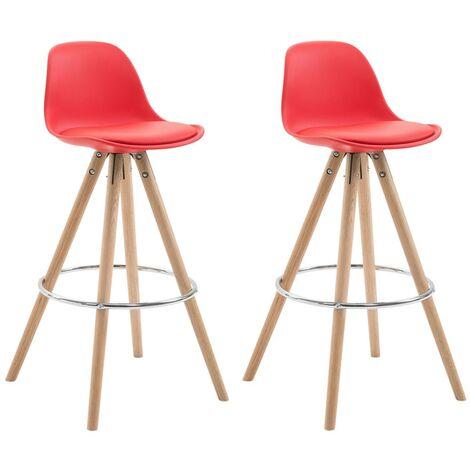 Lot de 2 tabourets chaise de bar en polyuréthane rouge avec repose-pieds