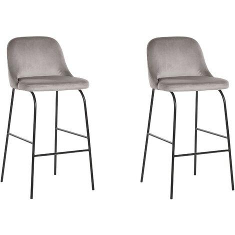 Lot de 2 tabourets - chaises de bar tapissées en velours gris