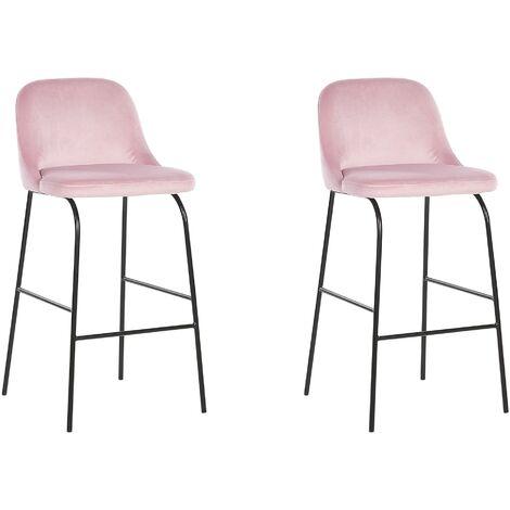 Lot de 2 tabourets - chaises de bar tapissées en velours rose