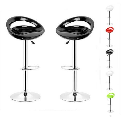 Lot de 2 tabourets de bar ABS Noir Pivotant et réglable en Hauteur 59 cm - 80 cm , Chaise de Bar