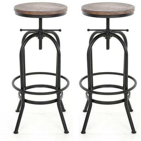 Lot de 2 Tabourets de bar au design industriel assise en bois, chaises de bar en bois iKayaa