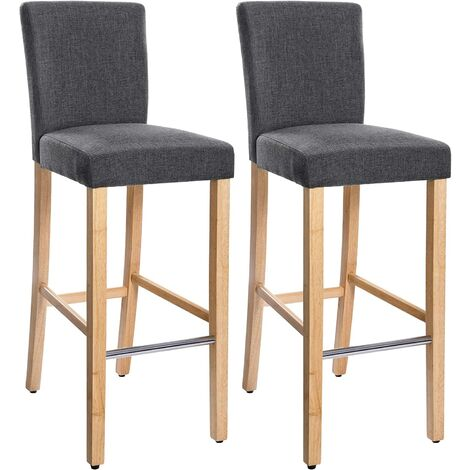 lot de 2 tabourets de bar avec dossier et repose pieds. Black Bedroom Furniture Sets. Home Design Ideas