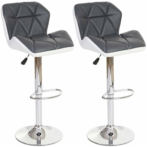 Lot Tabouret De Bar.Lot De 2 Tabourets De Bar Avec Repose Pieds Similicuir Gris