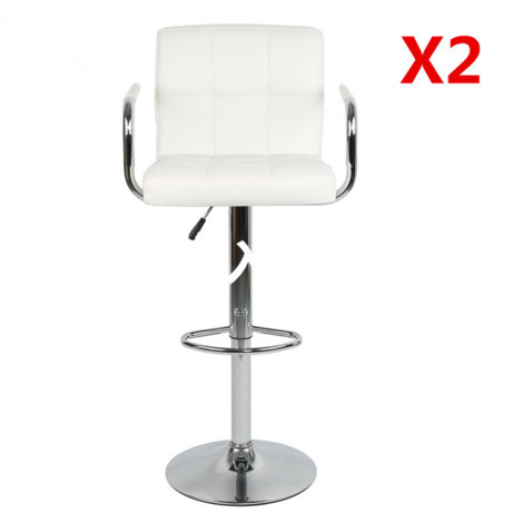 Lot de 2 Tabourets de Bar blanc Chaises Hauteur Réglable, Rotative à 360°