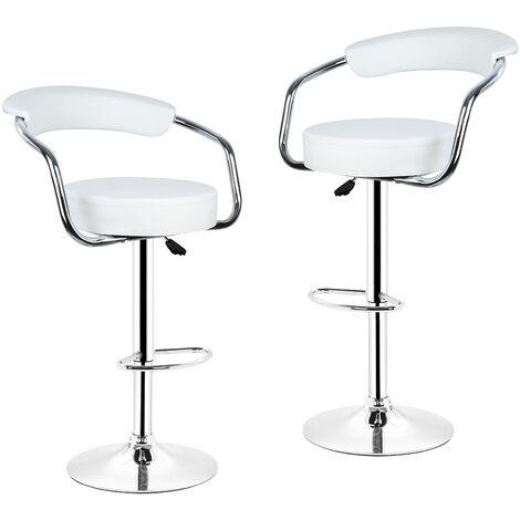 Lot de 2 tabourets de bar blanc style contemporain r glable en hauteur et rotatif sy37392 04 - Tabouret cuisine reglable hauteur ...