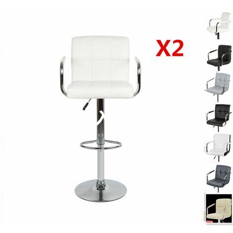 Lot de 2 Tabourets de bar chaise de bar PU chrome hauteur réglable grande base Φ38cm avec accoudoirs beige - beige