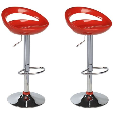 Lot De 2 Tabourets De Bar Design Plastique Abs Dossier Rouge