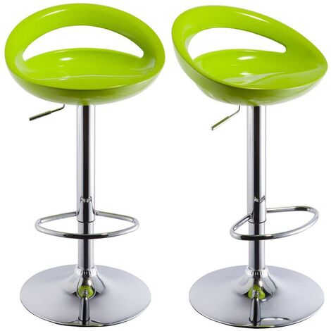 Lot de 2 Tabourets de bar design plastique ABS dossier vert