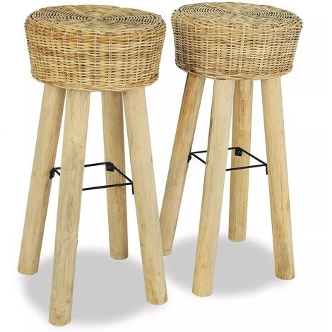 lot de 2 tabourets de bar en bois de teck et rotin naturel. Black Bedroom Furniture Sets. Home Design Ideas