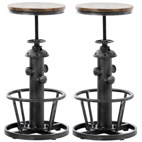Lot de 2 tabourets de bar en métal argenté style industriel réglable repose-pieds - argentéer