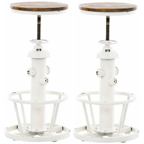 Lot de 2 tabourets de bar en métal blanc style industriel réglable repose-pieds - blante