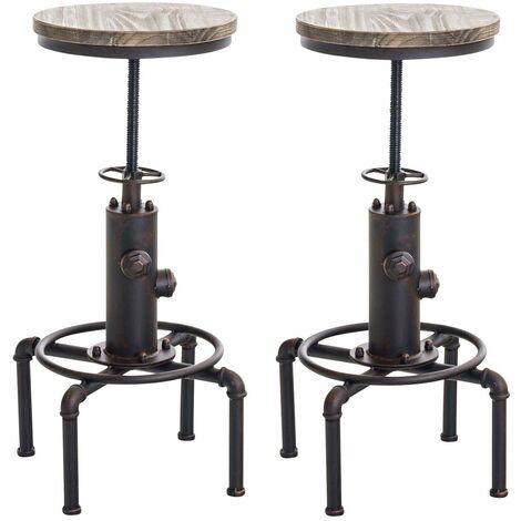 Lot de 2 tabourets de bar en métal bronze style industriel hauteur réglable - noir