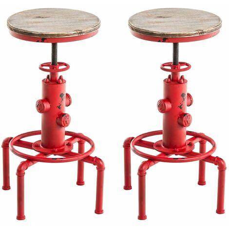 Lot de 2 tabourets de bar en métal rouge style industriel hauteur réglable - rougeed